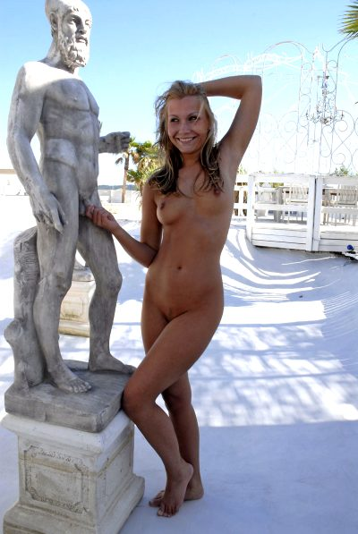 Having Fun With The Statue